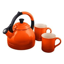 Le Creuset - Le Creuset Teakettle and Mug Gift Set - The Peruh kettle and mug set is ideal for gift-giving. The kettle and the mugs both feature Le Creuset's signature three-ring accent. The kettle's colorful anti-slip handle has both style and convenience, while its single-handed pouring operation keeps hands away from steam at the spout when serving. The two mugs are crafted with a colorful, durable exterior enamel that matches other stoneware flawlessly, while protecting from marks and scratches.