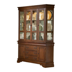 Liberty Furniture - Louis Philippe Buffet w Hutch in Cherry Finish - Lighted curio style hutch. Dovetail construction. Wood-on-wood drawer glides. Adjustable shelving behind buffet doors. Warranty: One year. Made from hardwoods, poplar solids and cherry veneers. Made in Malaysia. Buffet: 61 in. W x 16 in. D x 33 in. H (179 lbs.). Hutch: 60 in. W x 16 in. D x 53 in. H (234 lbs.)