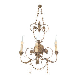 Kathy Kuo Home - Pair Santa Maria Spanish Revival Aged Gold Wall Sconces - The Santa Maria wall sconce in Aged Gold is an ode to traditional Spanish decor. This hard wired sconce is sure to add an element of eclecticism to any room.  Coordinating chandelier available as well.  Price marked is for a pair.