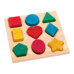 Guidecraft - Guidecraft Shape and Color Sorter - Guidecraft - Puzzles - G6703 - Children will love sorting and matching the 12 chunky shapes to their matching locations on the Shape and Color Sorter. Large pieces are easy to grasp and feature rounded corners and edges. Develops fine- motor skills and hand-eye coordination. Made from eco-friendly rubberwood and stained with low VOC aniline dyes. Activity booklet included. Ages 2+.