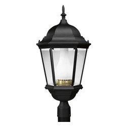 """Progress Lighting - Progress Lighting P5485-31EB Welbourne 1 Light Cast Post Lantern with Compact Fl - Outsized lanterns mounted on pillars arches illuminated by indirect lights dramatic hanging candelabra in the portico coach lanterns on either side of your entry - all of these and so many more type of outdoor lighting are today's options. Retired at last is the old """"front porch light."""" Gone, thankfully, is the dim and tacky light over the garage door, a fixture that never did give enough light to find your way to your entry. Now you have all the choices, dramatic or subtle. You can coordinate outdoor lights to your interior d�cor, or you can select the understated appeal of lighting that blends without being noticed. Welbourne cast aluminum lanterns features delicately detailed, cast scroll arms combined with the brilliant clarity of clear, beveled glass.One Light cast post lantern Featuring cast aluminum construction with clear, beveled glass and white glass chimney 1 26W, 32W, or 42W 4 - pin Quad compact fluorescent. GX24q - 3 - 4 base 120V 277V HPF electronic ballastBulb Type: Compact Fluorescent Collection: Welbourne Height: 26"""" Material: Die - Cast Aluminum Number Of Lights: 1 Shade: Clear Beveled Glass, Frosted Chimney Socket 1 Base: G24q-3 Socket 1 Max Wattage: 42 Style: Tuscan Suggested Room Fit: Outdoor Watts Per Bulb: 42 Width: 13""""Fits 3"""" Post - (Sold Separately)"""