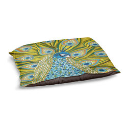 """DiaNoche Designs - Dog Pet Bed Fleece - The Peacock - DiaNoche Designs works with artists from around the world to bring unique, designer products to decorate all aspects of your home.  Our artistic Pet Beds will be the talk of every guest to visit your home!  BARK! BARK! BARK!  MEOW...  Meow...  Reallly means, """"Hey everybody!  Look at my cool bed!  Our Pet Beds are topped with a snuggly fuzzy coral fleece and a durable indoor our underside material.  Machine Wash upon arrival for maximum softness.  Made in USA."""