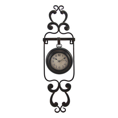 Decorative Metal Pocket Watch Style Wall Clock - This pocket watch style clock adds a lovely accent to any wall in your home or office. The decorative metal hanger measures 22 inches tall, 6 inches wide, 1 3/4 inches deep, and the clock measures 5 inches in diameter. The clock has black numbers and hands to mark the time, it features quartz movement, and runs on 1 AA battery (not included). The frame easily mounts to the wall with 2 nails or screws by the hangers built into it. This clock looks great in living rooms, bedrooms, kitchens, and offices, and makes a great gift.