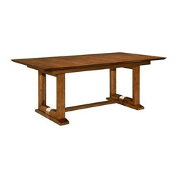 Broyhill - Suede Dining Table - 8051-531STS - The Suede Table features a trestle base that carries the framed look into the table ends. The Table Top extends to 96 inches with one 18-inch leaf. It also has a removable, black felt-lined tray. Baseand Top sold separately.