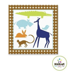 "KidKraft - Animal Boys Canvas 15""x15"", Wood Frame 2 by Kidkraft - Hardware for hanging is included. Wipe with Damp Cloth."