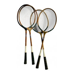 Badminton Rackets - Set of 4 vintage badminton rackets.  All in great shape!  Only 1 of the 4 has a string that is broken.  But they are all useable.  These are so fun for decor in the family room or kids bedrooms.  Great vintage style and colors on the handles.  Could easily be mounted on a wall side by side.