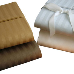 Luxor Linens - Romeo Stripe Linens, King, White - Earn your style stripes with these lovely lined linens, an exquisite blend of Egyptian cotton and Italian craftsmanship. With their polished appeal and rich neutral tones, they take making the bed from chore to sophisticated statement.