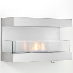 Eco-Feu - Romantic Wall Mounted Ventless Bio Ethanol Fireplace - The Romantic Wall Mount Fireplace offers a simplistic, yet sophisticated styling to any contemporary space. This wall mount fireplace, offered in stainless steel, offers an eco-friendly flame that is odorless. Bio Ethanol, an alternative fuel source produced from plants, only emits water vapor and carbon dioxide into the air, therefore no chimney or flue is needed. Although ethanol fireplaces aren't intended for use as a primary heat source, the Romantic model produces approximately 7,500 btu with the help of its stainless burner, which will change the noticeable temperature in a room of approximately 780 - 880 square feet. For aesthetic appeal and safety, this fireplace includes three panes of tempered glass that are situated in front and to the sides of the flame. Appropriate for any living space, Romantic can be mounted on the wall using the included hardware.