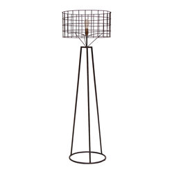 Kathy Kuo Home - Sanctuary Industrial Loft Steel Exposed Bulb Floor Lamp - This Industrial Loft floor lamp has steel construction, with a rich, textured brown finish. Impressive and graphic, the handcrafted round shade is rustic in form but modern in function, allowing all of the light to shine through.