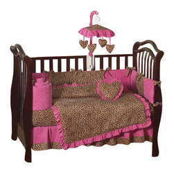 Sweet Jojo Designs - Pink Cheetah 9-Piece Crib Bedding Set - The Sweet Jojo Designs Pink Cheetah 9-piece Crib Bedding Set will set your baby up in high style. This funky and modern baby bedding set uses a collection of oh so soft Micro suede fabrics in the stylish colors of Pink, camel and chocolate. This set will create a stylish room that your little one is sure to enjoy. This set is machine washable for easy care. This set comes in a zippered, handled carrying bag, made by Sweet Jojo Designs and fits all standard size cribs and toddler beds.