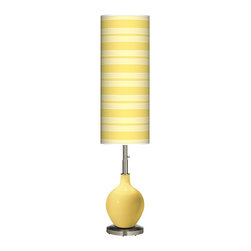 "Color Plus - Contemporary Daffodil Bold Stripe Ovo Floor Lamp - Welcome exquisite color and design to your home decor with this Color + Plus™ glass floor lamp. The design is hand-crafted by experienced artisans in our California workshops with a Daffodil yellow designer high-gloss finish. It is topped with a stylish made-to-order translucent shade that features a Bold Stripe pattern in rich color tones that complement the base hue. A brushed steel finish stand and neck balance the look in contemporary style. U. S. Patent # 7347593. Daffodil yellow designer glass floor lamp. Bold Stripe pattern giclee-printed translucent shade. Brushed steel finish. Takes one 150 watt bulb (not included). On/off column switch below shade. 60"" high. Shade is 34"" high 13"" wide. Base is 10"" wide.  Daffodil yellow designer glass floor lamp.  Bold Stripe pattern giclee-printed translucent shade.  Brushed steel finish.  Takes one 150 watt bulb (not included).  On/off column switch below shade.  60"" high.   Shade is 34"" high 13"" wide.   Base is 10"" wide."