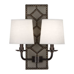 Robbert Abbey - WILLIAMSBURG Dunmore Lightfoot Gray Leather Double Sconce - Deep Patina Bronze - Available in Polished Nickel or Deep Patina Bronze Finish.  Backplate Upholstered in Carter Gray Leather with Nailhead Detail.  Aged Brass Accents.  2-60W Max.  Bulb Type: B. Candelabra Base.  Direct Wire Only.  Oyster Linen Shades.  Back Plate: 5 3/4��_ w x 16 1/2��_ d x 1 1/2��_ h  Shade: 5��_ w x 6��_ d x 6��_ h