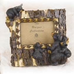 """PS - 9 Inch Tree Trunk Design with Black Bear Family 4 x 6"""" Photo Frame - This gorgeous 9 Inch Tree Trunk Design with Black Bear Family 4 x 6"""" Photo Frame has the finest details and highest quality you will find anywhere! 9 Inch Tree Trunk Design with Black Bear Family 4 x 6"""" Photo Frame is truly remarkable."""