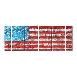 Pure Art - Modern Patriot Contemporary Metal Art Set of 6 - Although this artwork does not follow the actual layout of the stars and stripes – 13 stripes and 50 stars – it is obviously a modern interpretation of that traditional and iconic symbol. The boldness of color, the abstract and hazy presentation of the stars, and the Jackson Pollock-like splattering of red across the fields of red and white are hallmarks of modern art.Made with top grade aluminum material and handcrafted with the use of special colors, it is a very appealing piece that sticks out with its genuine glow. Easy to hang and clean.
