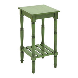 Woodland Imports - Wood Accent Table Olive Green Lower Storage Shelf Home Furniture Decor - Square wood accent table in olive green with slatted lower storage shelf and 4 pillar style legs home furniture decor