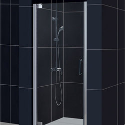"BathAuthority LLC dba Dreamline - Elegance Frameless Pivot Shower Door, 30 1/2 - 32 1/2"" W x 72"" H, Brushed Nickel - The Elegance pivot shower door combines a modern frameless glass design with premium 3/8 in. thick tempered glass for a high end look at an excellent value. The collection is extremely versatile, with options to fit a wide range of width openings from 25-1/4 in. up to 61-3/4 in.; Smart wall profiles make for an easy and adjustable installation for a perfect fit."