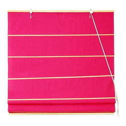 Oriental Unlimted - Cotton Roman Shades in Pink (72 in. Wide) - Choose Size: 72 in. WideThis classic Roman shade is given a bold update with a refreshing pink finish that's both bright and tropical with an island inspired appeal. Available in your choice of sizes, the shade is made of 100 percent cotton, with other colors available separately. These Pink colored Roman Shades combine the beauty of fabric with the ease and practicality of traditional blinds. Made of 100% cotton. Easy to hang and operate. 24 in. W x 72 in. H. 36 in. W x 72 in. H. 48 in. W x 72 in. H. 60 in. W x 72 in. H. 72 in. W x 72 in. H
