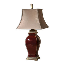 Uttermost - Uttermost Rory Table Lamp in Burgundy Ceramic - Shown in picture: Burgundy Ceramic With Light Distressing And Coffee Bronze Metal Details. This lamp features burgundy ceramic with light distressing and coffee bronze metal details. The rectangular bell shade is a silken - golden champagne - crushed fabric..
