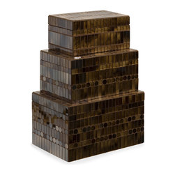 iMax - Chai Mosaic Boxes, Set of 3 - Mosaic glass tiles in a warm brown/amber are arranged in an alternating pattern of rectangles and circles as they climb the Chai mosaic boxes. This svelte set of three boxes is sure to catch the light in your eye. For a coordinated look purchase matching bottle and photo frames.