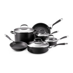 Circulon - Elite Aluminum 10-Piece Cookware Set - This set contains all the essential cookware tools to equip your kitchen, ensuring you'll really use each piece. Included is a saut pan, a wide, straight-sided pan that functions like a skillet but has extra capacity and a lid for added versatility. Create everything from a simple grilled cheese sandwich to a gourmet meal using this 10 piece set of cookware from the Circulon Elite line. Features: -Hard-anodized, nonstick cookware.-Contemporary tempered glass lid with stainless rim.-Stylish handle made of slip-free silicone and 18/10 stainless steel.-Hi-Low Food Release System guaranteed to outlast all other nonstick cookware.-Hi-Low wave technology.-Ergonomically designed phenolic handles are slip-free.-The most advanced nonstick formula available for easy cleaning.-Perfect heat distribution with no hot spots.-Flared edges offers neater pouring.-8'' Open Skillet.-10'' Open Skillet.-1-Qt. Covered Sauce Pan.-2-Qt. Covered Sauce Pan.-3-Qt. Covered Saute Pan.-8-Qt. Covered Stockpot.-Material: hard-anodized aluminum.-Hand wash with mild cleanser.-Oven-safe to 400 degrees.-Lifetime Customer Satisfaction.-Hard-anodized aluminum construction twice as strong as steel.-Collection: Elite.-Distressed: No.