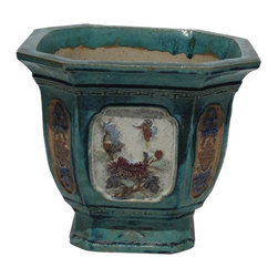 Golden Lotus - Vintage Chinese Ceramic Square Turquoise Green Planter - This is a traditional Chinese planter with relief motif on the surface. It is a planter with oriental decorative accent.