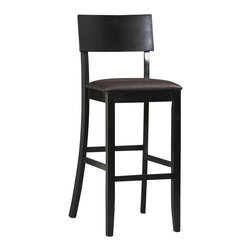 "Linon - Linon Torino Contemporary Bar Stool 30"" in Black - Linon - Bar Stools - 01855BLK01KDU - The Torino Collection Contemporary Bar Stool features a rich black finish. Great for homes with dark accents this stool also has a padded vinyl seat and back covered in a wipe clean PVC. The clean lines and solid construction ensure that this stool is durable enough for a busy kitchen yet elegant enough for a more formal setting. 30"" seat height"