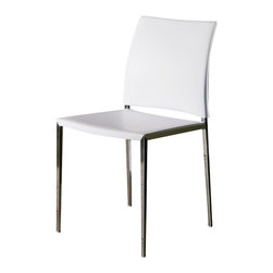 Bontempi Casa - Kida Padded Metal Chair - Set of 2 - Metal frame in chrome. Seat lightly padded with polyurethane. White with white stitching. Made in Italy. 21 in. L x 18 in. W x 33 in. H. Seat Height: 18 in.The Kida side chair is constructed with steel painted or chromed frame wrapped in smooth-as silk hide leather, treated for stain resistance. The leather is hand-sewn to hug every angle and curve. To enhance the comfort level, the seat is lightly padded with polyurethane. A choice of leather colors makes this side chair suitable for a variety of settings.