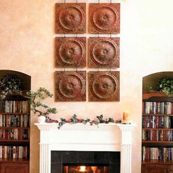 """Tin Wall Tapestry - Linking ancient design and architecture, our artfully detailed wall tapestry is comprised of 24"""" x 24"""" panels linked together and suspended from a decorative molding. Select from 2 to 8 panels to fit above a fireplace or give definition to a lofted area. A custom designed wall tapestry provides a network of visual detail on a grand scale."""