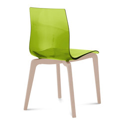 DomItalia Furniture - Gel-L Green Chair (Set of 2) - Wooden frame and durable styrene acrylic nitryl shell of this stunning Gel-L Green Chair (Set of 2) make your dining space complete.