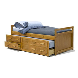 Sunset Trading - Twin Bed with Trundle - Includes storage drawers. Warranty: One year. Made from solid southern yellow pine. Honey pine finish. Made in USA. Assembly required. 77.5 in. L x 40.5 in. W x 31 in. H (135 lbs.)This beautifully designed furniture supplied by Sunset Trading will assure you many years of use and enjoyment. Perfectly suited for your son or daughter's bedroom the Rustic Collection from Sunset Trading provides space-saving comfort and convenient storage for any childs room. Kids will love its fun and inviting appearance. Parents will love it for its timeless appeal, space-saving convenience, durability and abundant storage. Its natural Rustic look will grow with your child for years to come.