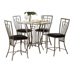 Homelegance - Homelegance Flight 5-Piece Counter Height Dining Room Set in Dark Grey - This Homelegance set includes a round Dining table and four chairs. The frames of the chairs and the legs of the table are created using a modern geometric design with layers of rectangles. The chairs frames and table legs are constructed of metal finished in a dark gray color. The table top is made of clear glass, which adds to its distinctive appearance. The table measures 36 inches in height which is the standing height of most counters. The sleek style of the pedestal table is complimented by the dark fabric used to cover the chairs. The unique combination of materials adds to the appeal of the entire set.