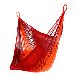 Yellow Leaf Hammocks - 'Sedona' Hanging Chair Hammock - A fiery hammock that brings the breathtaking sunsets of Sedona to your front porch, our 'Sedona' Hanging Chair is 100% handcrafted by artisan weavers for maximum comfort.