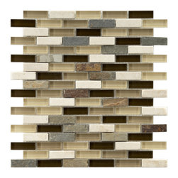 Somertile - Somertile Reflections Subway Nassau Stone and Glass Mosaic Tiles (Pack of 10) - Add contemporary design flair to your kitchen or bath wall or backsplash with these stone-and-glass mosaic tiles. The tiles feature an attractive mix of tan and brown glass accented by natural slate stone, and they are mesh-mounted for easy mounting.