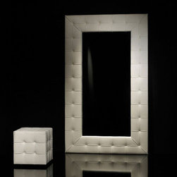 Cattelan Italia - Cattelan Italia   Pasha Mirror - Made in Italy by Cattelan Italia.Sumptuous luxury is at the heart of the Pasha Mirror, which features a soft button tufted leather frame. Tall and rectangular, it can stand on the floor or hang on a wall. Beautiful from all angles, the mirror lends sophistication to any room. Available in soft leather, select the perfect color to make a dramatic modern addition to your living space. Strong and durable, the mirror adds modern glamor to your home and is a prime example of Italian design and workmanship.