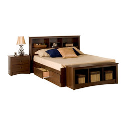 Prepac Furniture - Prepac Fremont 4 Pc Double Size Bedroom Set in Espresso (Bed, Two Nightstands an - This Fremont 4 Pcs Double Size Storage Bedroom Set in Espresso (Bed, Two Nightstands and Dresser) - Prepac Furniture will bring simple elegance to any bedroom or living space! Six large drawers, positioned three on each side below the bed, are easy to access and accommodate clothing, or anything you need to store. Linens, blankets and magazines are just a few ideas. Other highlights include solid antique bronze-finished knobs and drawers that run on smooth, all-metal roller glides with built-in safety stops. It is made from durable composite woods, and has no plastic edgebanding.    Bedroom Set includes Double Size Bed with Headboard, two Nightstands and Dresser.  Chest could be added to complete the set.
