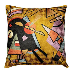 """Modern Silk - Kandinsky Cushion Cover Black & Violet Decorative Hand Embroidered 18"""" x 18"""" - Kandinsky Cushion Cover - Star fragments and enigmatic hieroglyphs artfully stitched in the finest Kashmir wool chainstitch needlework. Cosmic colors like blue, lavender and silver complement earthier tones of terra cotta, harvest green and amber to recreate a design based on the work of influential Russian artist, Wassily Kandinsky.The exciting pattern evokes the thought of a ladder to the stars, a comet's tail,or a star map. This cover could grace the cabin of your boat or the chair in your solarium and yet be equally as comfortable in your den. Durable and easy to clean, this toss pillow will catch the eye of every passerby."""