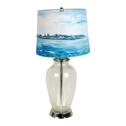 Glass Base Nautical Style Sea Painting Fabric Shade Table Lamp - Simple style and elegance are key features in this Glass Base Nautical Style Sea Painting Fabric Shade Table Lamp. The see-through base will help disperse the light throughout the area, and it has a large fabric shade that ensures the lamp casts a soft, romantic glow in the room.