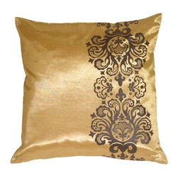 "Pillow Decor - Pillow Decor - Gold with Brown Baroque Scroll Throw Pillow - An elegant baroque scroll adorns one side of this 16"" x 16"" square throw pillow. Designed to accompany its larger baroque pattern counterpart, this pillow provides a clean and sophisticated touch that is perfect for the bedroom or living room."