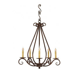 "Santangelo Lighting - 5 Light Firenze Wrought Iron Chandelier - 5 Light Firenze Wrought Iron Chandelier. Dimensions: 25""W X 23""H, Lights: 5, Finish: Bronze, Tiers: 1, Bulbs: Uses Up To 60 Watt Bulbs (Not Included), Light Covers: Optional Upgrade Onyx Socket or Light Covers, Chain: Comes with 2ft Chain, Weight: 26 LBS, Lead Time: Custom Order 2 - 4 Weeks; UL Approved"
