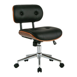Inova Team -Modern Leatherette Black Office Chair - The Concourse Office Chair delivers top-of-the-line comfort and brings a classic sophisticated look to a business or home office. Its extra-wide seat back provides optimal back support, while a sloped seat base is easy on the legs. Enjoy free-range movement with an adjustable seat and height feature and a five-point base on casters. Save space with an armless build that fits nicely under desktops. Beautiful black leatherette over walnut veneer looks fabulous in any office scheme.