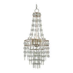 Kathy Kuo Home - Havilland Hollywood Regency Crystal Beaded Cascade Glamorous 6 Light Chandelier - Cascading crystal twinkles from this glamorous, silver chandelier. Translucent beads shimmer like champagne bubbles in this celebration of light. Six candelabra lights illuminate this exquisite exhibit.