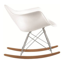 Fine Mod Imports - Fine Mod Imports Rocker Arm Chair in White (Set of 2) - The Rocker Arm Chair is a classic mid-century piece made the classic way with ABS in stainless steel legs in and in Ash wood