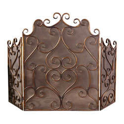 Uttermost - Uttermost Kora Metal Fireplace Screen - Kora Metal Fireplace Screen by Uttermost Made Of Hand Forged Metal And Mesh Screen, This Fireplace Screen Is Finished In Distressed Maple Wash With Gold Leaf Undertones.