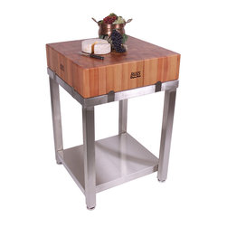 "John Boos - Boos Cherry Cucina Laforza Set - 6"" Butcher Block on Stainless Steel - 6-inch-thick Cherry butcher block resting on a sleek food-grade stainless steel base. 24 by 24-inch square. Blending dependability with style. CHY-CUCLA24T"