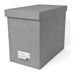 Bigso - Bigso Basix Desktop File Box - Grey - A file box with color and style? We're sold. Snag one (two or three) of our grey Basix Desktop File Box's to whip your desk into shape. Please just pay for them first. Accomodates letter size hanging files, sold seperately. Metal label holders remind you of what's stored inside; pull tabs help you pull them from the shelf.