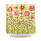 DiaNoche Designs - Shower Curtain Artistic - July Flowers Butterfly - DiaNoche Designs works with artists from around the world to bring unique, artistic products to decorate all aspects of your home.  Our designer Shower Curtains will be the talk of every guest to visit your bathroom!  Our Shower Curtains have Sewn reinforced holes for curtain rings, Shower Curtain Rings Not Included.  Dye Sublimation printing adheres the ink to the material for long life and durability. Machine Wash upon arrival for maximum softness. Made in USA.  Shower Curtain Rings Not Included.