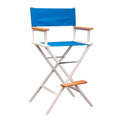 Sutton Bridge - Aluminum Directors Bar Stool Chair in Pacific Blue - Make the next big screen classic from the comfortable embrace of this customizable director's chair.  Seat frames are made of high grade aluminum, the wooden arms are coated to protect against mildew, and the chair is kept together by stainless steel hardware.  To top it all off, the manufacturer provides a 15-year warranty on the frame.  Custom embroidery available for extra fee. * Heavy duty construction for long life and durability. Made of hand-welded aircraft strength aluminum. Stainless steel hardware. Seat covers do not sag and are all-weather. Manufacturer's frame warranty: 15 years. Antimicrobial Wooden Arms. Quiet on the Set! . Seat Height: 27.75 in. . 24.5 in. W x 18.5 in. D x 44 in. H
