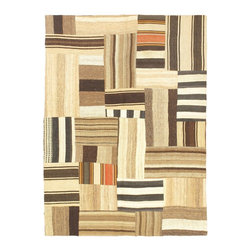"""Torabi Rugs - Flat-weave Bohemian Beige Wool Kilim 4'9"""" x 6'6"""" - This patchwork rug is made of vintage classic kilim pieces which are sewn together to form a truly one of a kind larger rug. This quirky and eclectic piece is painstakingly hand stitched. Light weight, this can also be used as a bedspread or throw. A colorful and updated vision of style, color and texture."""