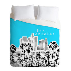 DENY Designs - Bird Ave Los Angeles Aqua Duvet Cover - Turn your basic, boring down comforter into the super stylish focal point of your bedroom. Our Luxe Duvet is made from a heavy-weight luxurious woven polyester with a 50% cotton/50% polyester cream bottom. It also includes a hidden zipper with interior corner ties to secure your comforter. it's comfy, fade-resistant, and custom printed for each and every customer.