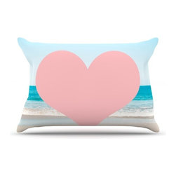 "Kess InHouse - Bree Madden ""Heart Beach"" Pink Sand Pillow Case, King (36"" x 20"") - This pillowcase, is just as bunny soft as the Kess InHouse duvet. It's made of microfiber velvety fleece. This machine washable fleece pillow case is the perfect accent to any duvet. Be your Bed's Curator."